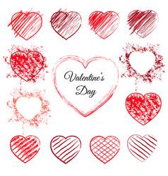 set of 13 hand drawn hearts vector image