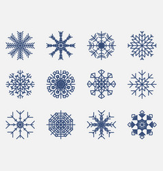 snowflakes set icon isolated on white background vector image vector image