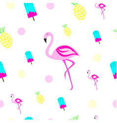 texture with flamingo ice cream and pineapple vector image