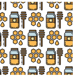 thin line honey jar and honeycomb seamless pattern vector image vector image