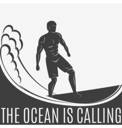 Vintage logo Men surfing on wave Surfboard Surf vector image vector image