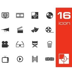 black cinema icon set on white background vector image