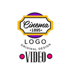 colorful video company or movie business logo vector image
