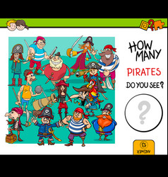 counting pirates educational game for kids vector image vector image