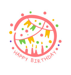 happy birthday promo sign childrens party vector image vector image