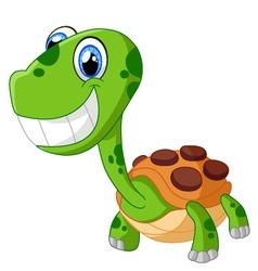 Happy cartoon turtle isolated on white vector image