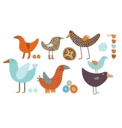 Orange and blue birds set vector image vector image