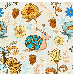 seamless pattern with snail vector image vector image