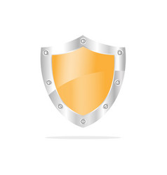3d yellow security shield on a white background vector image