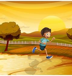 A boy running in the farm vector