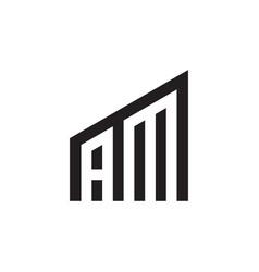 A m time building letter logo design concept vector