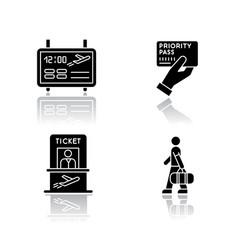 Airport terminal drop shadow black glyph icons vector