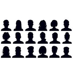 avatar portrait silhouettes woman and man faces vector image