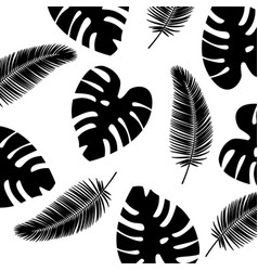 background tropical leaves pattern black and vector image