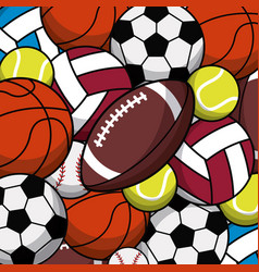 Balls sport game various seamless pattern vector