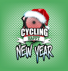 Bicycle wheel with santa hat and happy new year vector