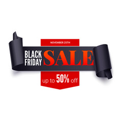 black friday sale horizontal poster black ribbon vector image