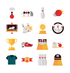 Bowling game recreational sport shoes trophy ball vector