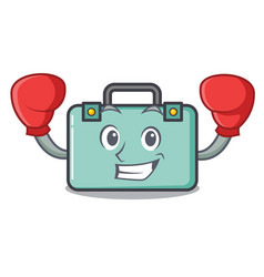 Boxing suitcase character cartoon style vector