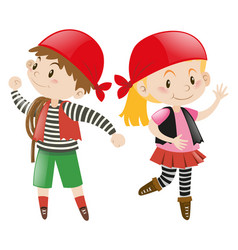 Boy and girl dressed up in pirate costume vector