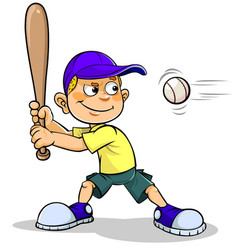 Boy playing baseball vector