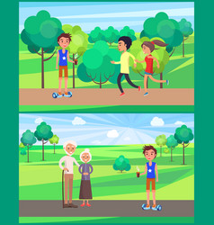 Boys and girl teenagers in park resting set vector