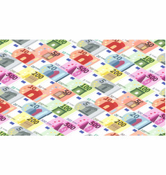 Bright different euro banknotes in a rows vector