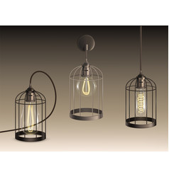 cage lamps with incandescent bulbs set vector image