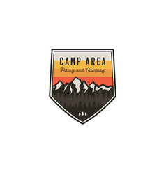 Camping area and hiking vintage badge mountain vector