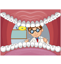 cartoon dentist check tooth into open mouth pat vector image