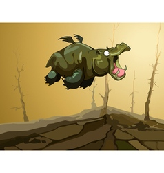 cartoon fairy flying hippopotamus with wings vector image