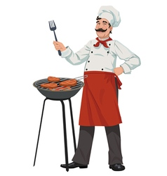 chef cooks barbecue steaks vector image
