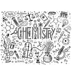 chemistry of icons set chalkboard with elements vector image