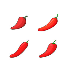 chilli icon set cartoon style vector image
