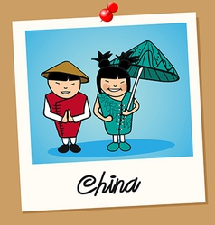 China travel polaroid people vector