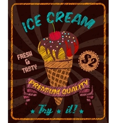 Chocolate ice-cream with cherry on poster vector