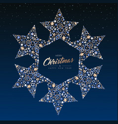 Christmas and new year copper star decoration card vector