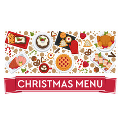 christmas menu restaurants or diner dishes vector image