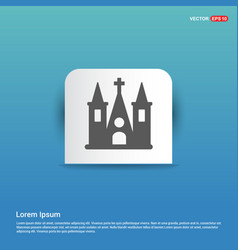 church building icon - blue sticker button vector image