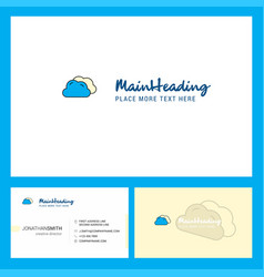 clouds logo design with tagline front and back vector image