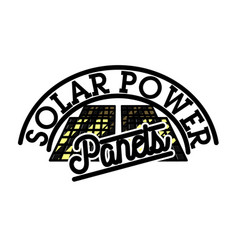color vintage solar panels emblem vector image