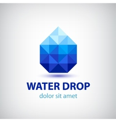 Crystal modern water drop logo icon vector