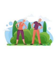 cute old senior couple doing sports exercises vector image