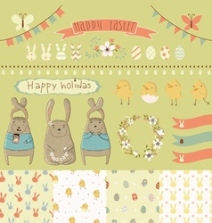 Easter scrapbook set vector image