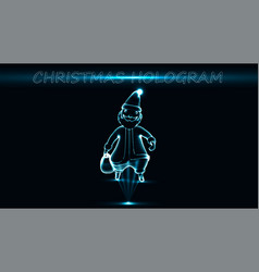Eps10 hologram santa claus with a bag on a black vector