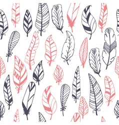 Ethnic seamless pattern with hand drawn feathers vector image