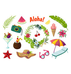 exotic stickers summer party tropical collection vector image