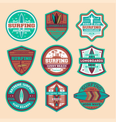 Extreme surfing camp vintage isolated label set vector