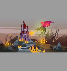 Fairy tale dragon attacks magic castle with fire vector