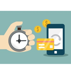 Flat concept of mobile banking and online payment vector